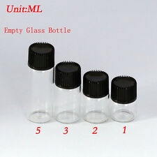 Whole Sale Small Bottle 1ml-5ml Clear Glass Bottles Vials with Plastic Lid