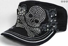 Cadet Hat Bling Skull pirate black cap adjustable ladies cap rhinestone black