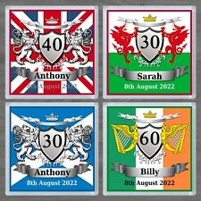 PERSONALISED DRINKS COASTER BIRTHDAY FLAG UNION JACK SCOTLAND WALES IRELAND