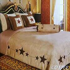 Western Luxury Embroidery Lone Brown Star Comforter Micro Suede 7 Pc Bedding Set