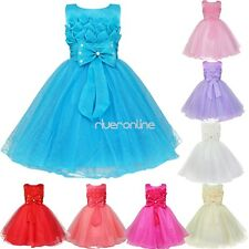 Girls Baby Flower Formal Dress Wedding Bridesmaid Party Christening Tutu Gown