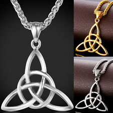 316L Stainless Steel Celtic Knot Pendant Necklace 18K Gold Plated Couple Jewelry