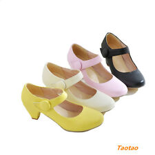 Fashion Women's Mid Heels Pumps Ankle Strap Wedge Causal Shoes AU All Size TD353