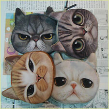 Cute Cat Coin Key Holder Case Canvas Purse Bag Zip Wallet Headset Storage Box
