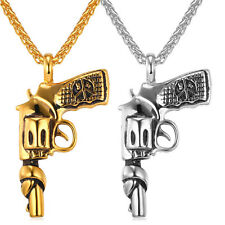 316L Stainless Steel Gun Pistol/Revolver Pendant Necklace Gold Tone Punk Jewelry