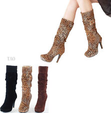 Women's Fashion Mid-Calf Boots Platform High Heel Mid Calf Shoes AU All Sz  R042