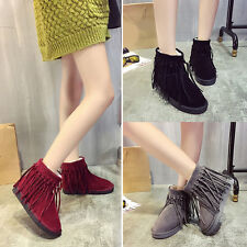 Women Lady Fur Lined Flat  Soft Snow Boots Ankle Booties Fashion Tassel Shoes