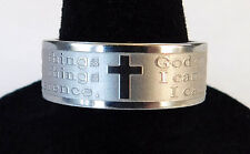 Serenity Prayer & Christian Cross Mens & Womens Etched Stainless Steel Band Ring
