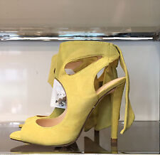 ZARA LEATHER HIGH HEELED SANDALS WITH BOW YELLOW 36-41 .Ref. 1531/001