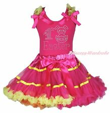 My 1ST Easter Egg Rabbit Bunny Top Hot Pink Yellow Rainbow Girls Pettiskirt 1-8Y
