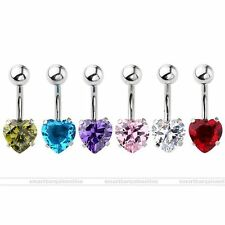 14G CZ Heart Steel Barbell Navel Bars Belly Button Rings Body Piercing Jewelry