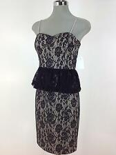 Jessica Simpson  NEW Elegant Black Lace Dress with sexy peplum skirt 2-14