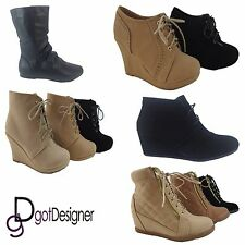 Womens Ankle Boots Bootie Shoes Lace Up Wedge Pump Comfort All Sizes Tan Black