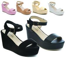 Ladies Wedge Heel Ankle Strap Womens Wedge Sandal Platform Flatform Shoe Size 3-