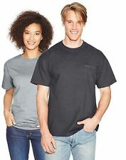 4-Hanes Beefy-T Adult POCKET T-Shirts ASSORTED COLORS Sizes S - 3XL-LotA1