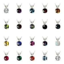 "Sterling Silver 925 Checkerboard Cushion 8mm Gemstone Pendant with 18"" Box Chain"