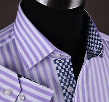 Lilac White Herringbone Stripe Formal Business Dress Shirt Blue Money A+ GQ Boss