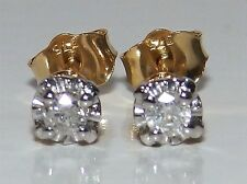 9CT YELLOW GOLD SINGLE STONE SOLITAIRE 0.1CT DIAMOND STUD EARRINGS