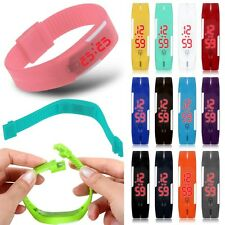 Mens Womens Red LED Silicone Sport Bracelet Touch Digital Colorful Wrist Watch