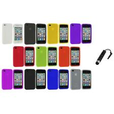 Color Silicone Rubber Gel Skin Case Cover Accessory+Stylus Plug for iPhone 4S 4G