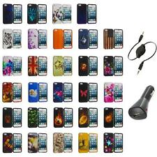For iPhone 5S 5 5G Hard Snap-On Design Rubberized Case Cover Skin+Aux+Charger