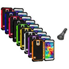 For Samsung Galaxy S5 SV Hybrid Shockproof Rugged Hard Case Cover+Car Charger