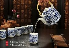 JAPANESE HAND PAINT 7 PIECE PORCELAIN TEA SET 1 TEAPOT & 6 CUPS WITH FILTER