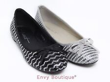 WOMENS LADIES CONTRAST SEQUIN BALLERINA SLIP ON DOLLY PUMP FLAT CASUAL SHOES
