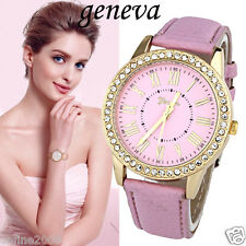 Fashion Women Watch Geneva Rhinestone Leather Band Quartz Analog Wristwatch Gift