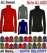WOMENS LADIES SLEEVES POLO NECK STRETCH TOP TURTLE NECK JUMPER SIZES 6-22 'polo