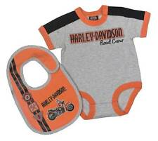 Harley-Davidson Baby Boys' Interlock Newborn 2 Piece Creeper w/ Bib Set 3051659