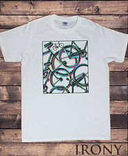 Mens White T-shirt Graphical Bicycle Abstract Colourful Sporty Novelty Print