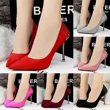 Fashion Pointed Toe Nice Rivets Pumps Suede Slim High Heels Casual Women Shoes