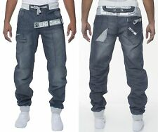 MENS DENIM JEANS EZ343 CUFFED JOGGERS IN DARKWASH COLOUR ALL SIZES 28 TO 42