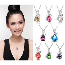 18K White Gold Plated Swarovski Crystal Eternal Love Teardrop Pendant Neckla HPT