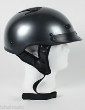 1GM - Black Chrome DOT Motorcycle HALF HELMET BEANIE HELMETS SKULL CAP