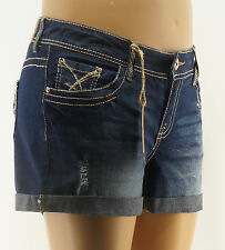 Amethyst Juniors Plus Jean Shorts Rose Destroyed Blue Denim