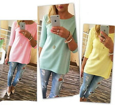 Womens Loose Pullover T Shirt Long Sleeve Cotton Tops Shirt Blouse Fashion New a