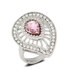 18K White Gold Plated Pink Crystal Women Ring Jewelry Lady Gift CZ Rhinestone