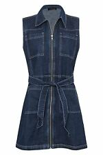 Womens Denim Sleeveless Zip Front Pockets Shirt Collar Short Dress Size 6-16