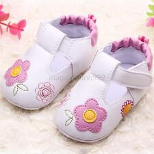 0-18M Toddler Kids Baby Girl Princess Shoes Flower PU Leather Crib Shoes