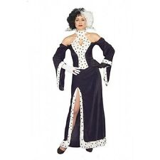 LADIES FANCY DRESS DOG LOVIN' DIVA CRUELLA DE VILLE COSTUME W/ OPTIONAL WIG