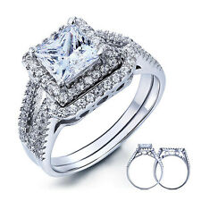 PRINCESS CUT 925 STERLING SILVER CZ WEDDING ENGAGEMENT RING SET SIZE 5-9 SS2066