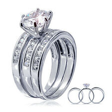 3PCS 925 STERLING SILVER CZ WEDDING ENGAGEMENT BANDS RINGS SET SIZE 5-9 SS2070