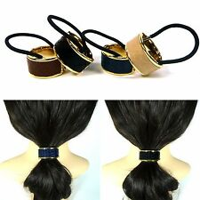 Python Leather Metal Hair Cuff Ponytail Holder Wrap Tie Rope Ring Band Accessory