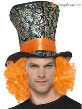 Adults Mad Hatter Top Hat Alice in Wonderland Fancy Dress Accessory Ladies Mens