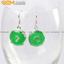 Fashion 15mm Ring Dyed Green Jade Beads Carved Tibetan Silver Dangle Earrings