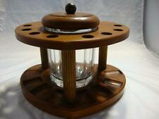 Vintage Estate Glass Humidor and 8 Pipe Wooden Pipe Holder NICE!