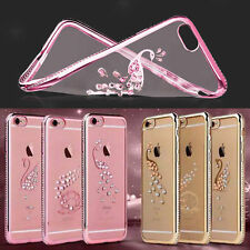 Luxury Crystal Clear Bling Diamond Rubber Plating Soft TPU Case Cover For iPhone