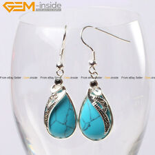 Gem-inside 14x30mm Fashion Drip Beads TibetanSilver Dangle Earrings 1 Pair